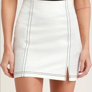 MINKPINK White Denim Mini Skirt
